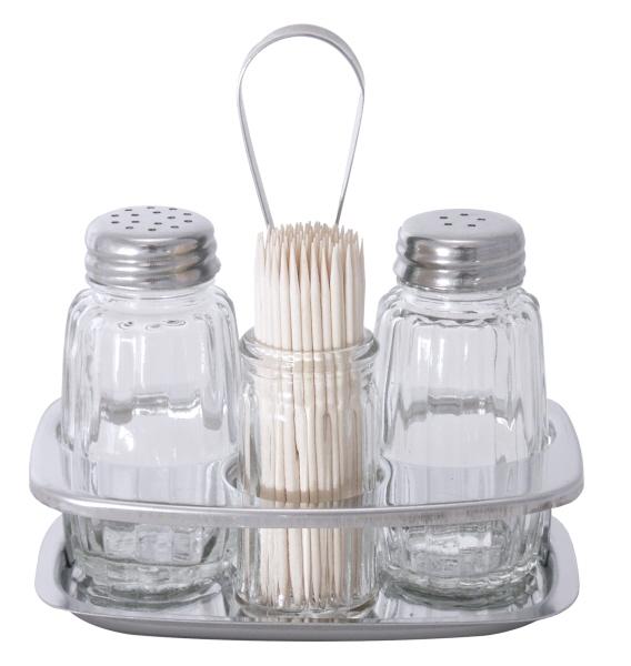 Pfeffer /& Zahnstocher Salz Menage 3-teilig